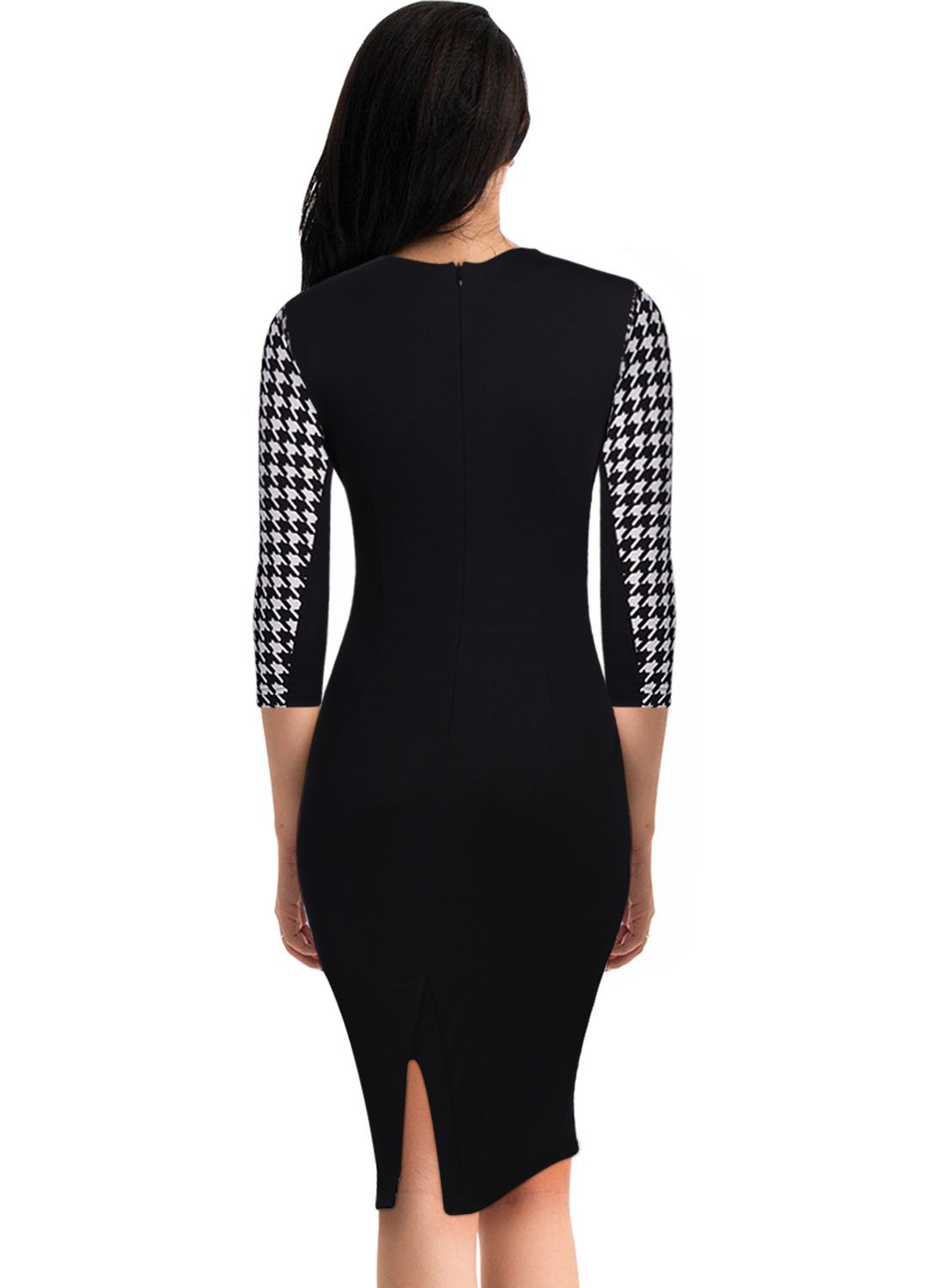 Miusol Women Formal Houndstooth-Print Optical Illusion 2/3 Sleeve Business Dress Black Large by Miusol (Image #2)