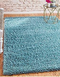 Unique Loom Solid Shag Collection Light Slate Blue 3 X 5 Area Rug (3u0027