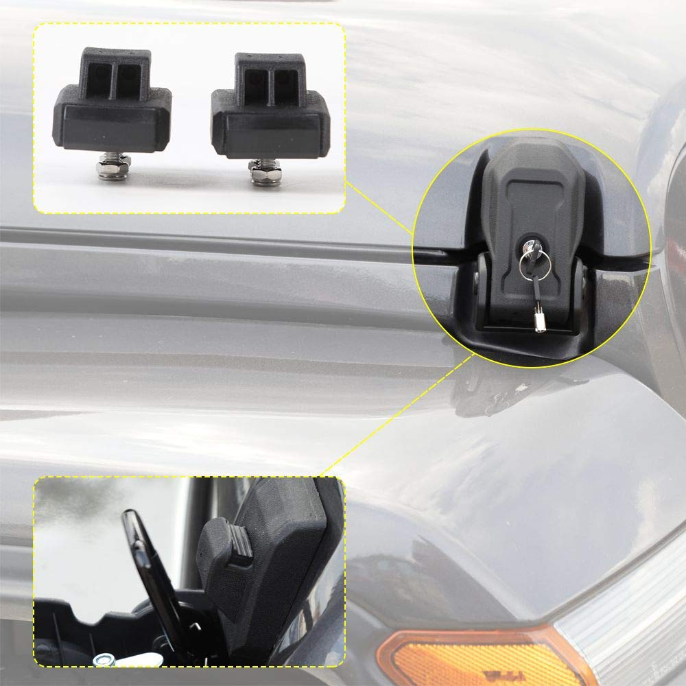 Hood Latches Hood Lock Catch Latches Kit Anti-Theft for for 2007-2019 Jeep Wrangler JK JKU JL JLU