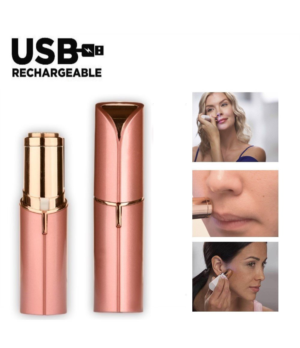 SBeauty Women's Facial Hair Remover - Painless Hair Remover Lipstick Razor, Light Hair Removal - Mini Travel Size 18K pink