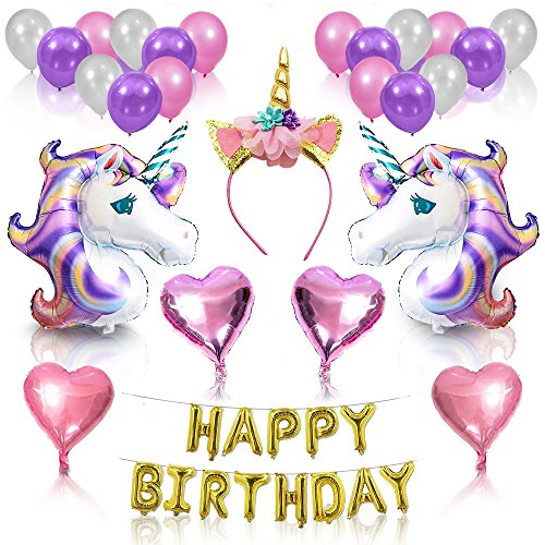 PartyParts Unicorn Party Supplies and Decorations for Girl's Birthday Party | 26 Piece Kit with Helium Balloons and Gold Glitter Unicorn Headband Horn Happy Birthday Unicorn Banner |Cute Accessories (Fantasy Party Supplies)