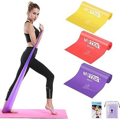 Juego de 3 bandas elásticas para fitness con 3 niveles de resistencia, bandas elásticas ideales para pilates, yoga, rehabilitación, entrenamiento de fuerza y flexibilidad, estiramiento, giallo18 …