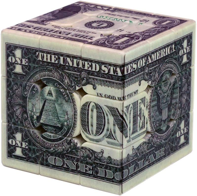 """Speed Cube 3x3 One-Dollar Notes/Bill Back Pattern Magic Cube Puzzle,IQ Games Puzzles Relief Effect Kids Adult Toys,5.6cm/2.2"""""""