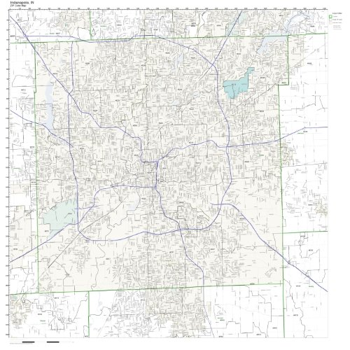 ZIP Code Wall Map of Indianapolis, IN ZIP Code Map Laminated (Code Wall Zip Map)