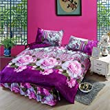 wiwanshop 4pcs Purple Polyester Fiber 3D Pink Rose Reactive Dyeing Bedding Sets Queen King