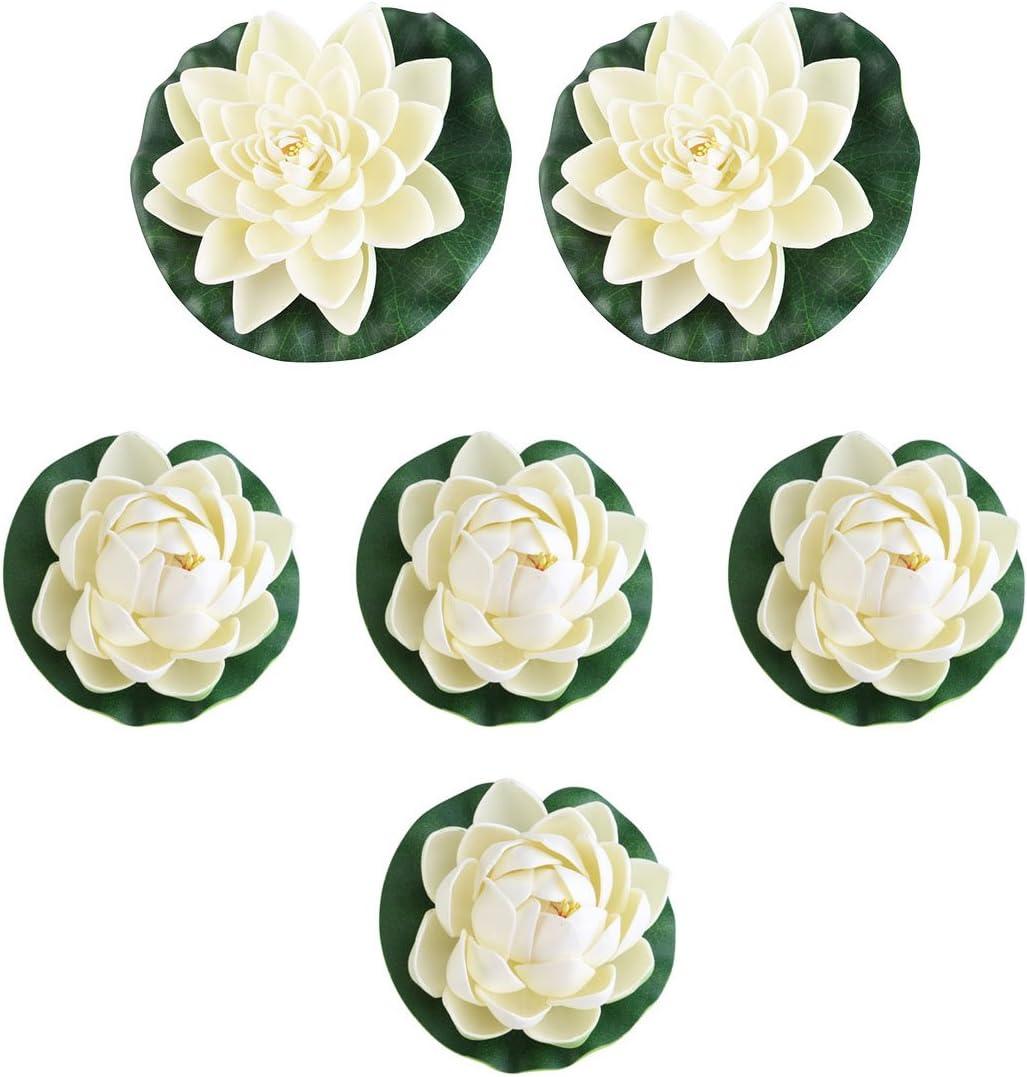 UEETEK 6pcs Artificial Lifelike Foam Pond Plants Lotus Lilies for Home Decor White