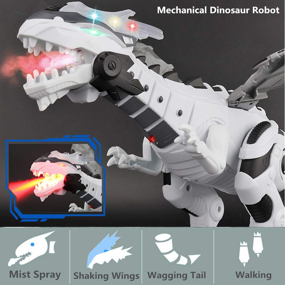OceanEC Kids Electronic Dinosaur Robot Toy, Mechanical Walking Dinosaur Robot Toy with Flashing Lights Sounds Spray Movement for Boys Girls (Battery Power) by OceanEC (Image #2)