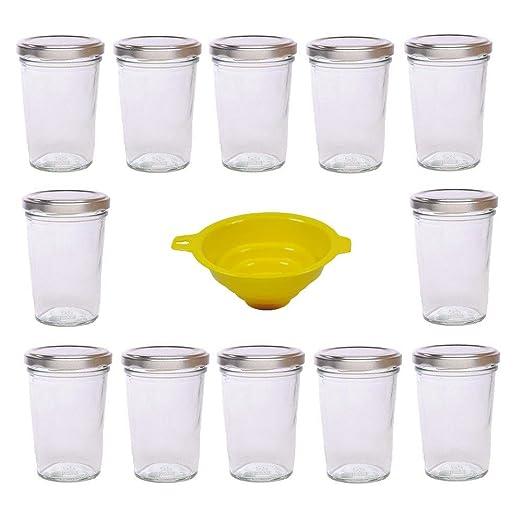 Viva-artículos de Uso doméstico - 42 pequeños tarros de Cristal/tarros de Mermelada 80 ML con tapón de Rosca - Plata Plateada para confituras, Cristal, ...