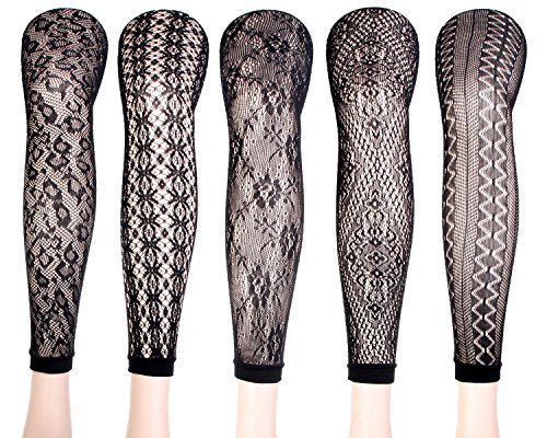 Women's Sexy Fishnet Pantyhose Sheer Lace Stocking Tights Control Top Reinforced Toe Silk Sexy Panty Hose (5pairs-J) - Net Lace Top