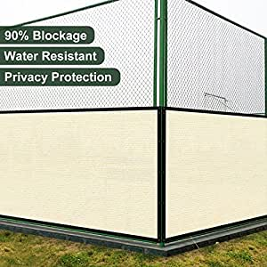 Coarbor 16'x133' Privacy Fence Screen Cover Mesh Blocker with Brass Grommets 180GSM Heavy Duty Fencing for Outdoor Back Yard Patio and Deck Backyard Garden Blocking Neighbor Beige-Customized