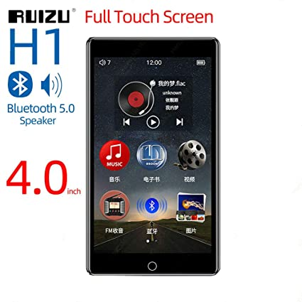 RUIZU H1 Full Touch Screen MP3 Player Bluetooth 8GB Music Player with  Built-in Speaker Support FM Radio Recording Video E-Book(Black