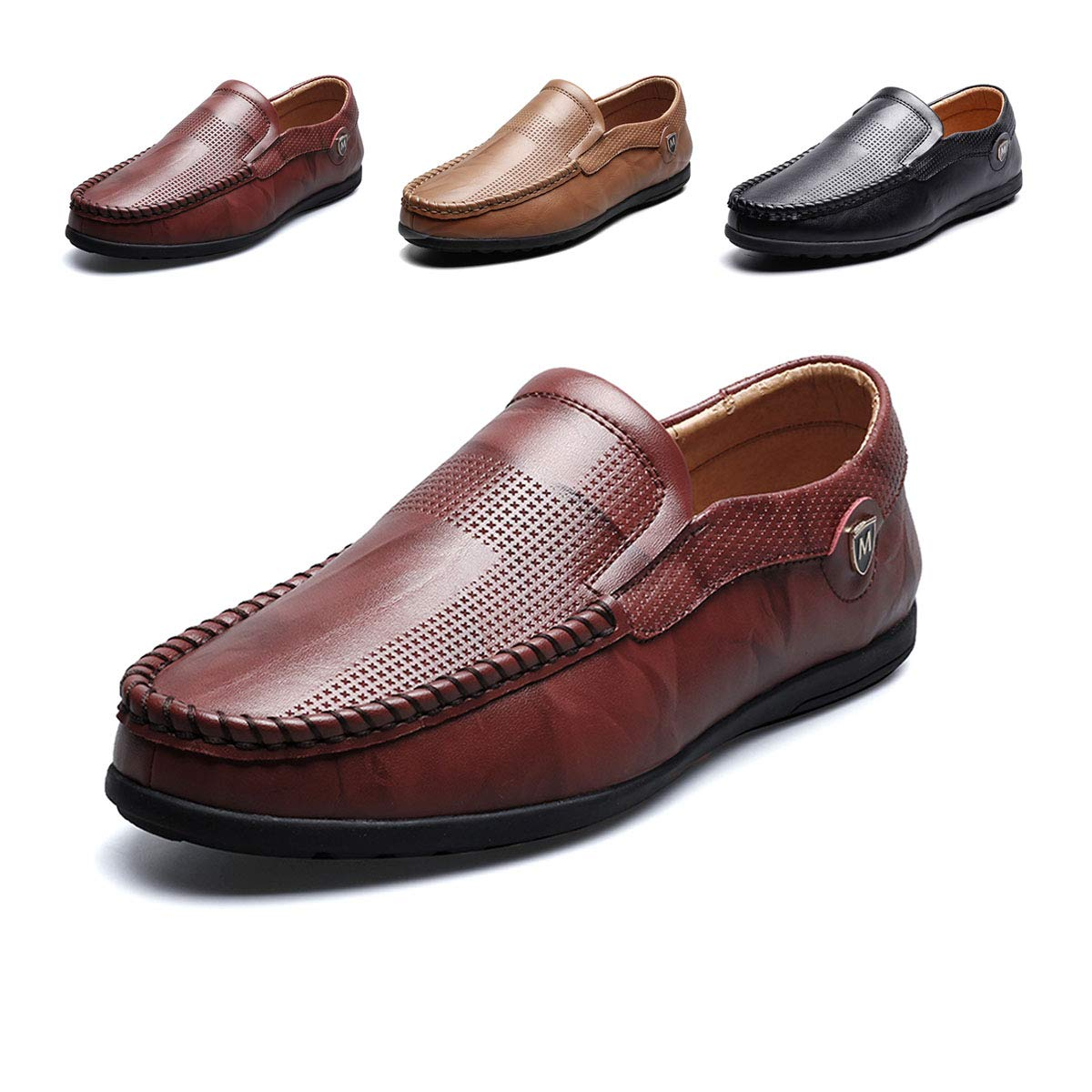 HYF Mens Oxford Shoes Boat Shoes Breathable Lined Loafers Flat Upper Hand-made Leather Shoes Business Shoes for Men