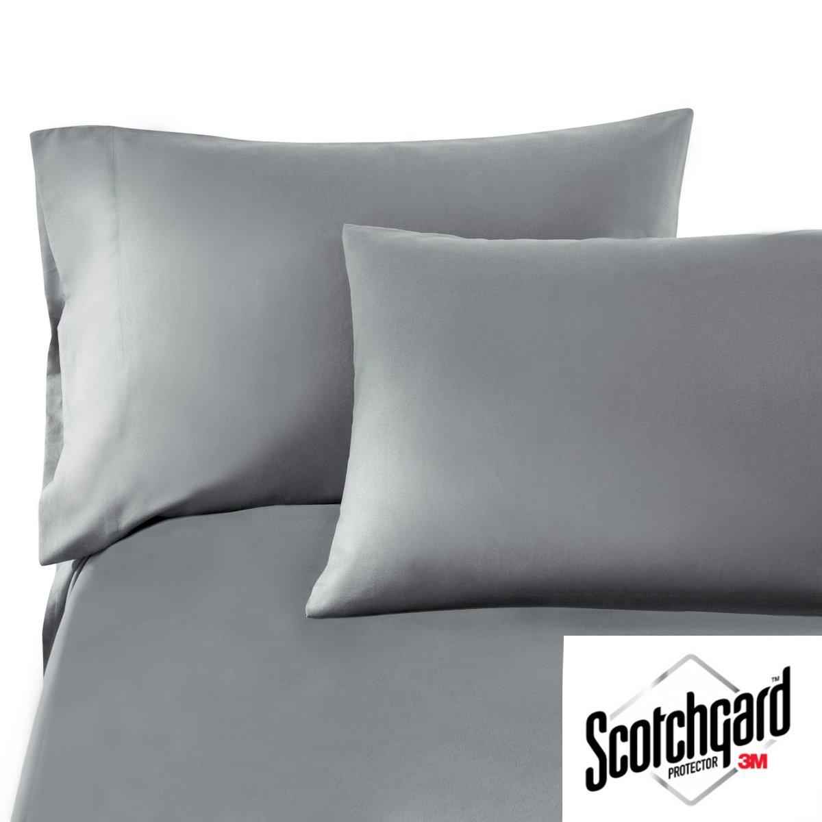 HONEYMOON HOME FASHIONS King Grey 3M Scotchgard Bed Sheet Set