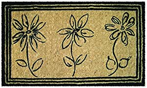 "Entryways Sketchbook Flowers Extra Thick Hand Woven Coir Doormat, 18"" x 30"""