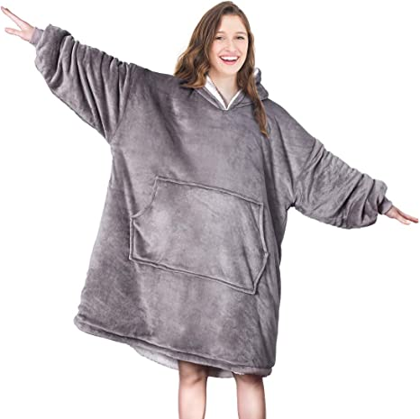 HOMEYA Hoodie Wearable Blanket Soft Warm Cozy Flannel Sweatshirt Robe Bathrobe with Front Pocket and Sleeves for Winter Adults Teens Women Men Working Cooking Wearable Blanket Camel, L
