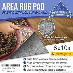 Alpine Neighbor 8-Feet-by-10-Feet Rug Pad with Grip Tight Technology, Grey