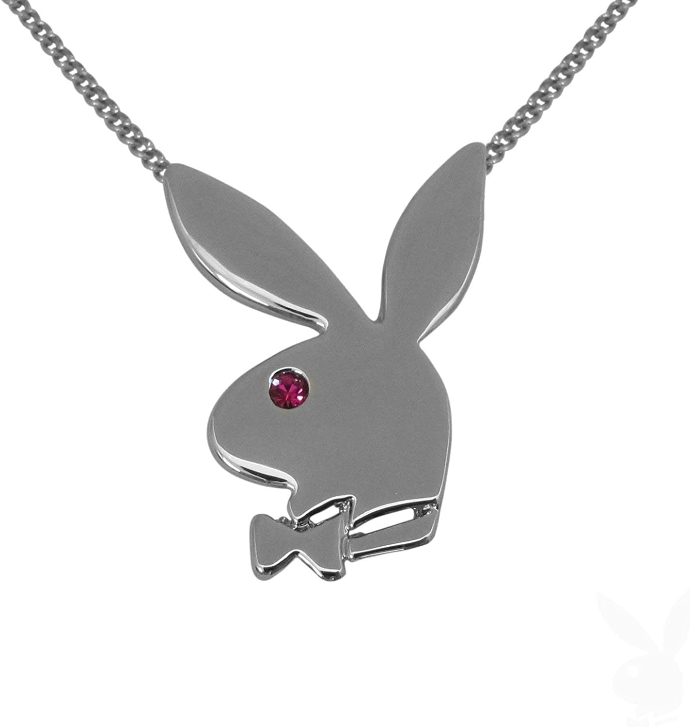 Silver Playboy Bunny Rabbit Animals Pendant Womens Girls Pink Leather Necklace