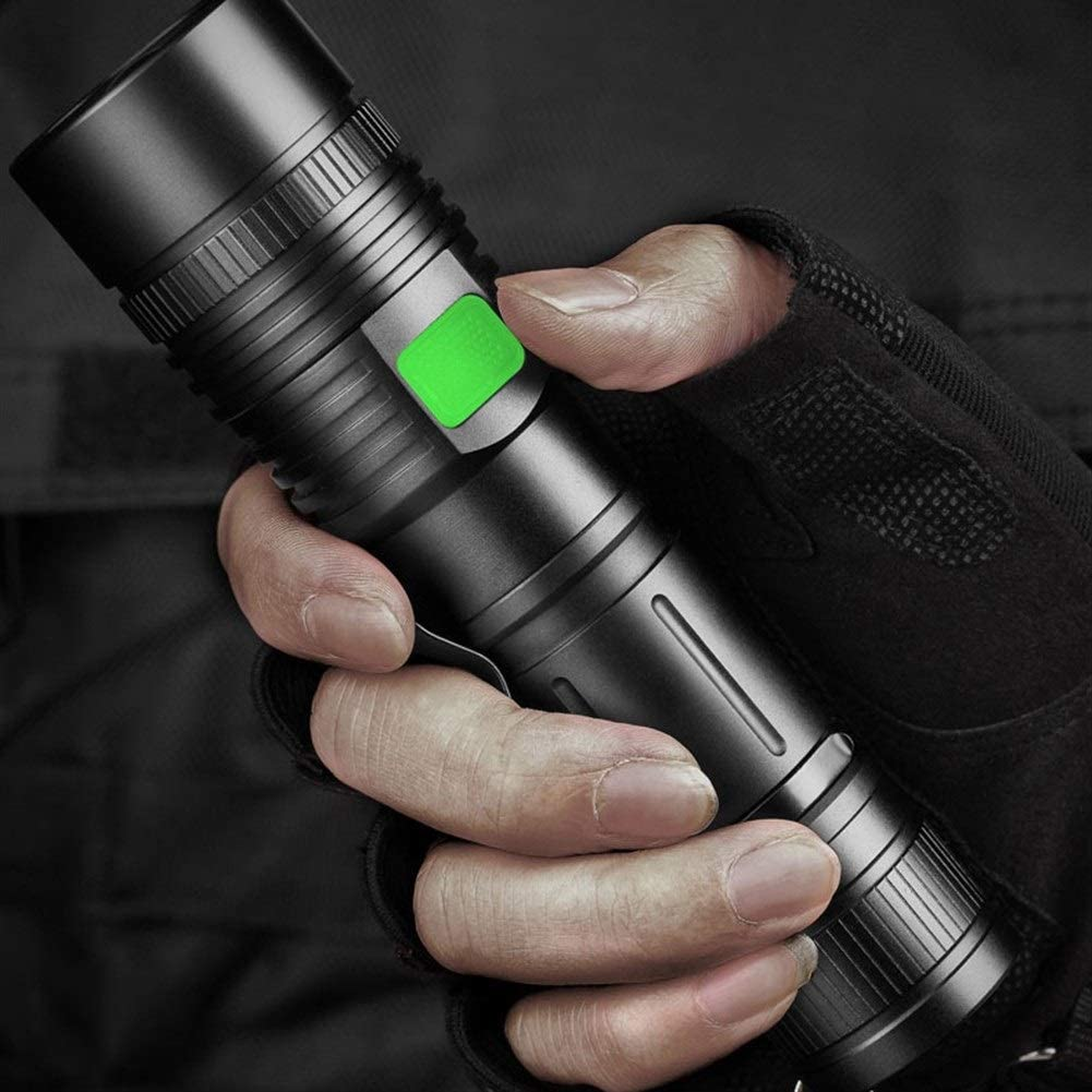 LED Torch Super Bright Powerful 4200 Lumens Rechargeable LED Flashlight 5 Modes Waterproof Handheld Light Camping Outdoor Emergency Torch electric (Color : Black) Black