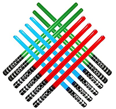 megasumer 12 Inflatable Light Saber Sword Toys - 4 Green, 4 Red 4 Blue Lightsabers - Party Favor, Halloween Costume / Treats, Christmas Stocking Stuffer, Pool, LARP, Yoda, Sith, Jedi