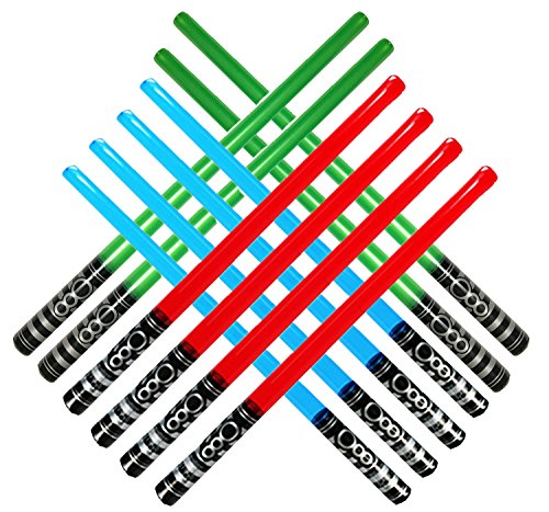 megasumer Inflatable Army Party Weight 12 Pack (4 Green, 4 Blue, 4 Red) Light Saber Sword Toys-4 4 4 (Piece), Red, Blue, Green