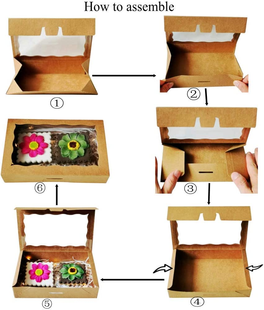RomanticBaking 12 Pack Cookies Boxes for 2 cookies 7 x 4 3//8 x 1 1//2Easy Assembly Pop-up Brown Kraft Bakery Boxes for Wedding Birthday Baby shower