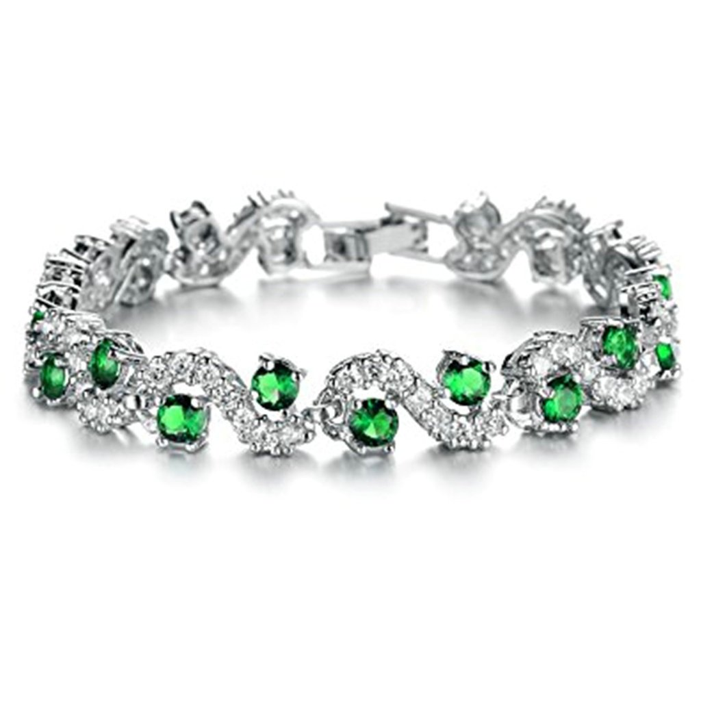 Gold Plated Tennis Bracelet for Her Round Cut Green Cubic Zirconia Bracelet for Birthday Jewelry 19CM by Aienid