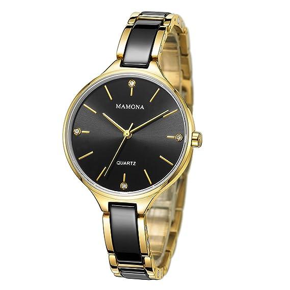 MANONA Relojes de Cuarzo para Mujeres A Prueba de Agua Cerámica Negra y Dorada Reloj de Muñeca Ultra Delgado a la Moda L3877BK: Amazon.es: Relojes
