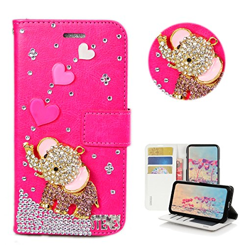 STENES Moto G6 Play Case - STYLISH - 3D Handmade Bling Crystal Heart Cute Elephant Design Wallet Credit Card Slots Fold Stand Leather Cover for Moto G6 Play - Hot Pink