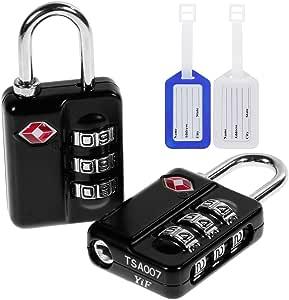 Anpro 2 x TSA Candados de Seguridad - Tres Maletas Código de Bloqueo, Negro y Dos Etiquetas de Equipaje