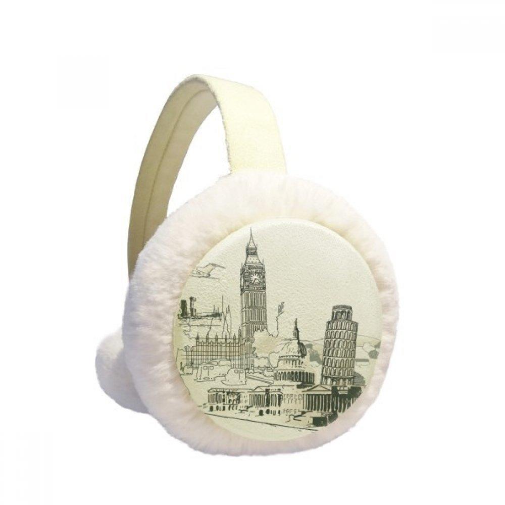 Travel Landmark Big Ben Leaning Tower of Pisa Winter Earmuffs Ear Warmers Faux Fur Foldable Plush Outdoor Gift