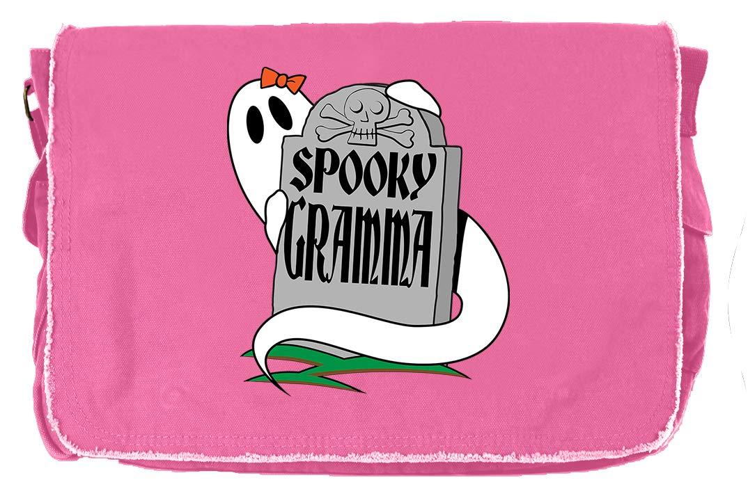 Tenacitee Spooky Grandma Khaki Green Raw Edge Canvas Messenger Bag