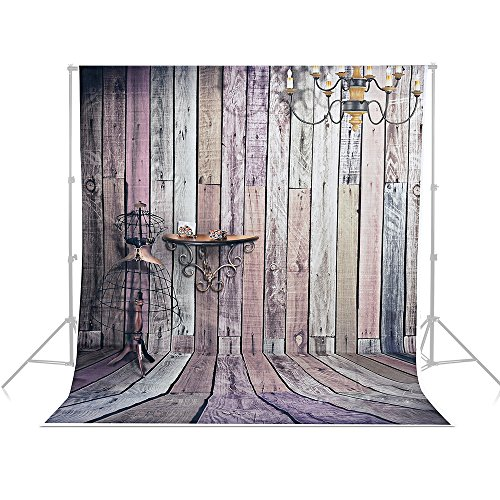 5x7ft Photography Background Vinyl Backdrop Paper Studio Props-Wood Floor Wall Pendant Lamp