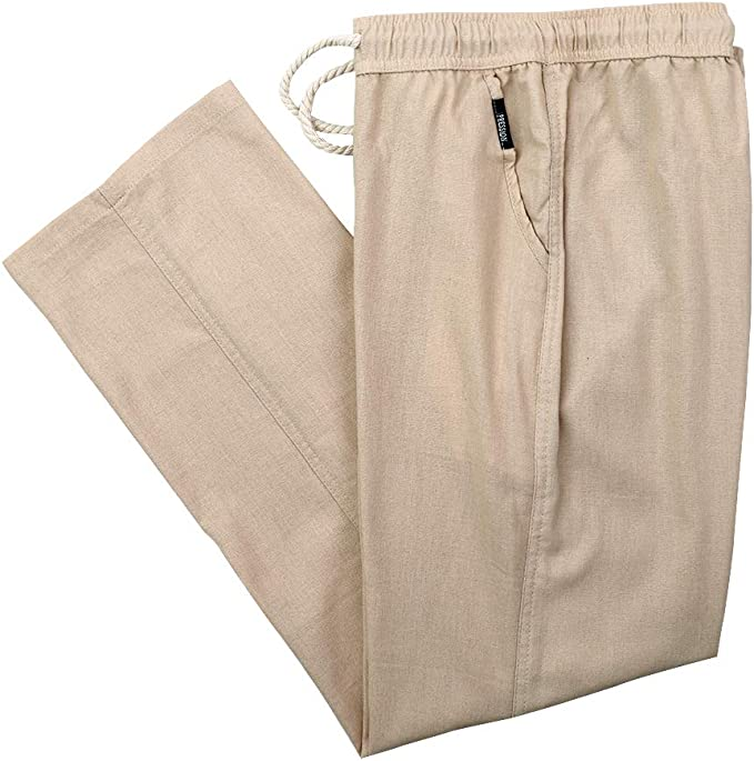 IDEALSANXUN Mens Loose fit Straight Leg Elastic Waist Cargo Chinos Pants