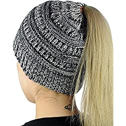 Muryobao Slouchy Cable Knit Beanie Women Crochet Ponytail Messy High Bun Beanie Trendy Warm Chunky Soft Stretch Cable Knit Beanie Skully(One size Grey)