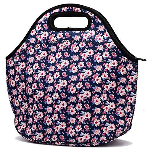Neoprene Insulated Lunch Bag For Women Cooler Lunch Box For Adult Waterproof Lunch Tote Bag - Flora