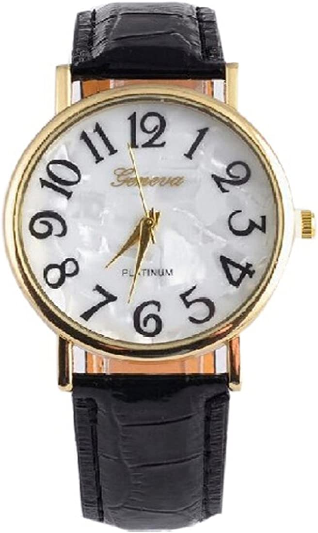 joyliveCY - Relojes de pulsera, de vestir, para mujer, esfera redonda con números grandes, de cuarzo, color negro