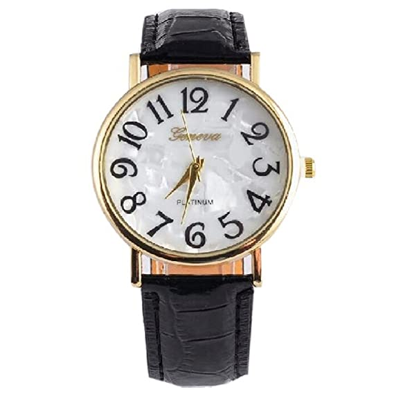 joyliveCY - Relojes de pulsera, de vestir, para mujer, esfera redonda con números grandes, de cuarzo, color negro: Amazon.es: Relojes
