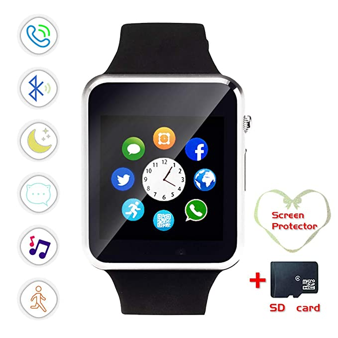 Smartwatch, Bluetooth Smart Watch and Cell Phone Watch with Card SIot Bluetooth Call\Camera\Music Player Watch Compatible for Android and iOS Phones ...