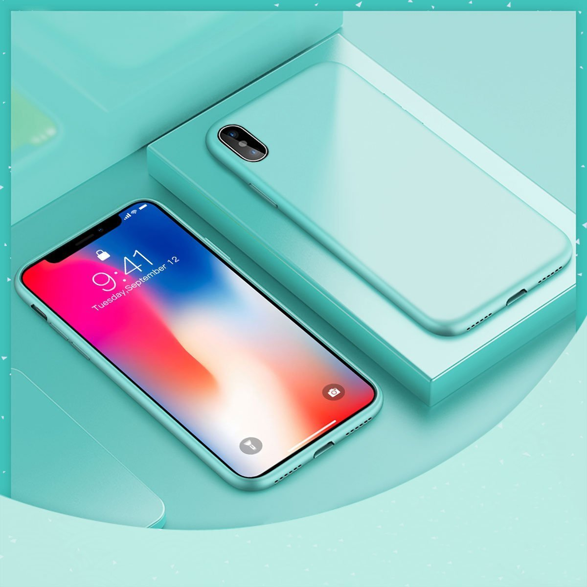 Ztotop iPhone X Case, Ultra Slim Liquid Silicone Gel Rubber Anti-Scratch Shockproof 5.8 Inch Minimalist Design Cover for Apple iPhone X/10 with Honeycomb Grid Pattern, Green