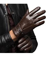 CASF Men's Warm Lambskin Genuine Leather Gloves For Men Winter Driving