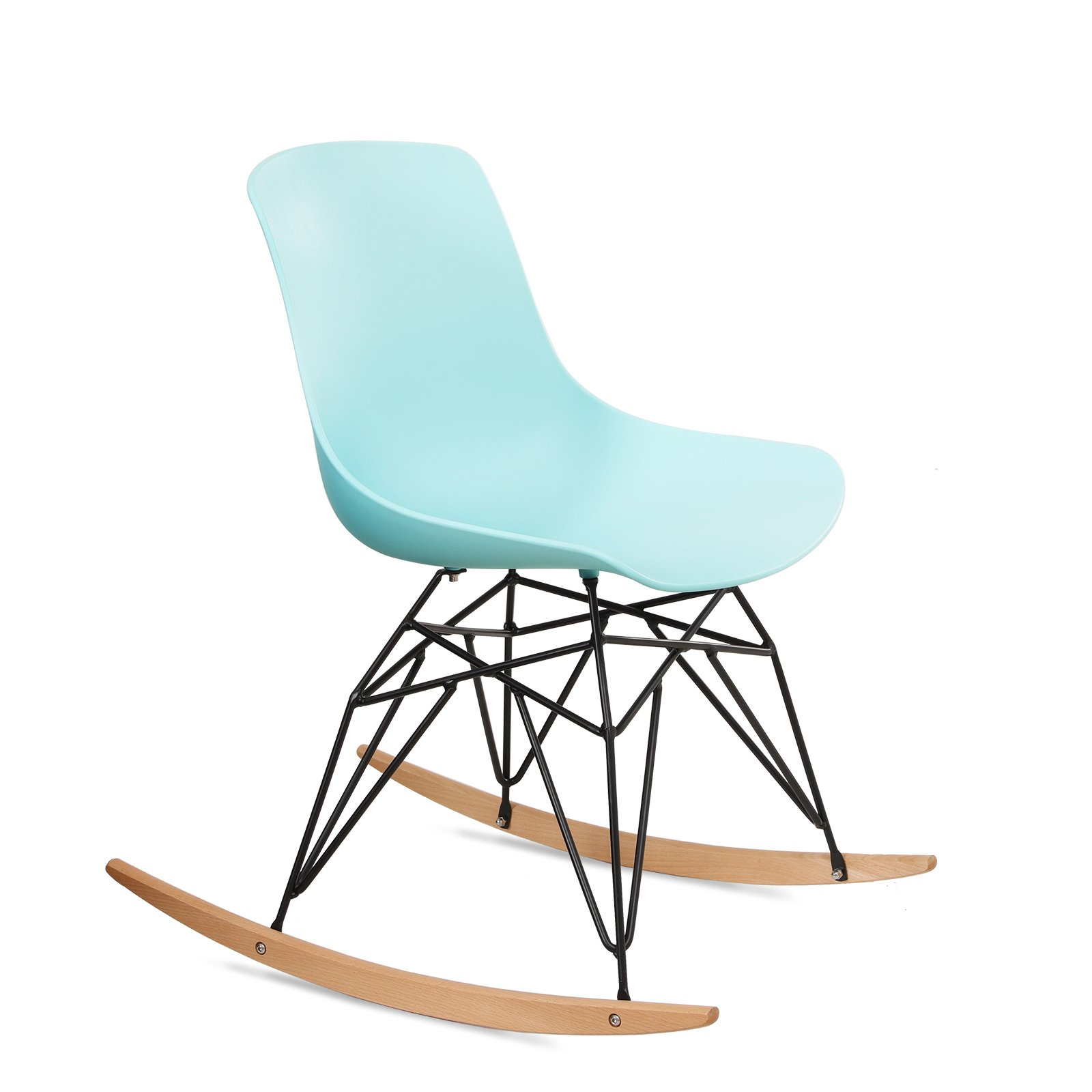 SONGMICS Modern Rocking Chair, Low Back Leisure Lounge Chair, with Metal Legs, Solid Wood Base, Load Capacity 265 lbs, for Balcony, Living Room, Bedroom, Porch, Patio, Garden ULDC61BU