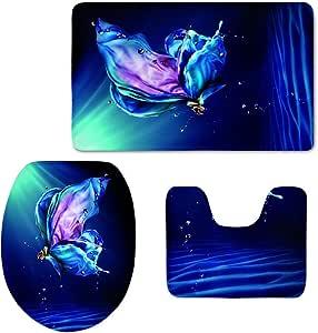 CHAQLIN Beautiful Blue Butterfly Bathroom Carpet Toilet Floor Mat Tank Top Lid Cover 3 Piece Non Slip