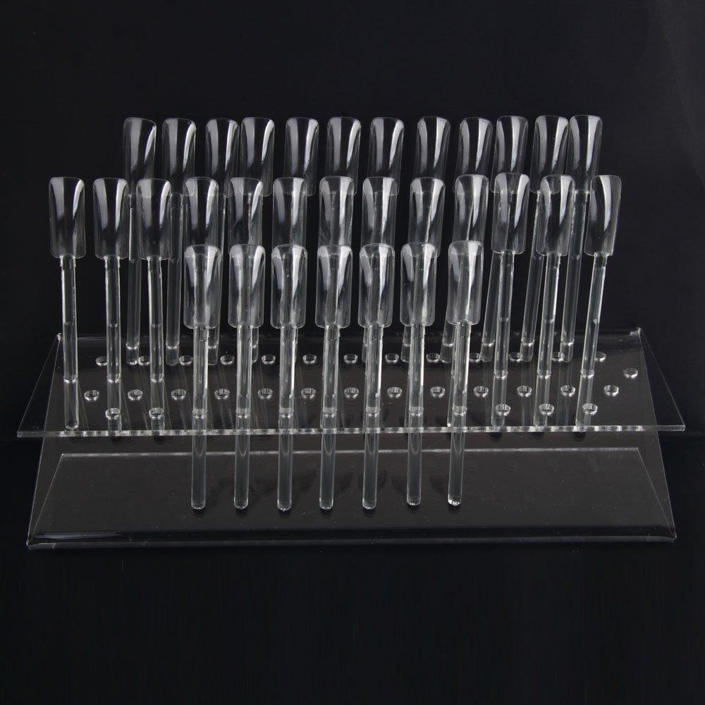 64 UV gel Nail Art Acrylic Tips Samples Sticks Nail Display Stand Rack Practice Tool Clear Beauticom