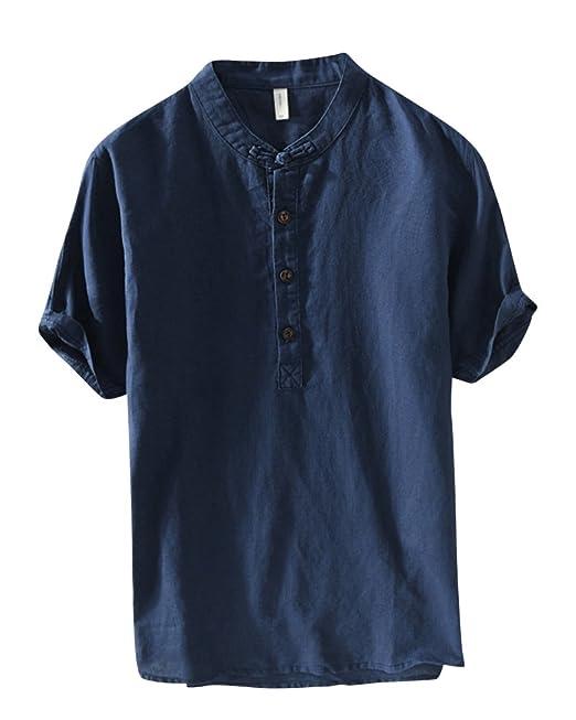 Camisa De Lino Hombre Suelta Casual Transpirable Top De Manga Corta Camisas Sin Cuello De Color Sólido Blusas De Trabajo: Amazon.es: Ropa y accesorios