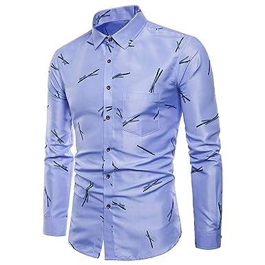 JaHGDU Camisas para hombres Manga larga Oxford Formal Trajes ...