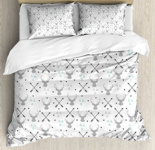 Lunarable Antlers Duvet Cover Set Queen Size, Hunting Theme with Scandinavian Design Elements Arrows Triangles Deer, Decorative 3 Piece Bedding Set with 2 Pillow Shams, Grey Mint Green Black