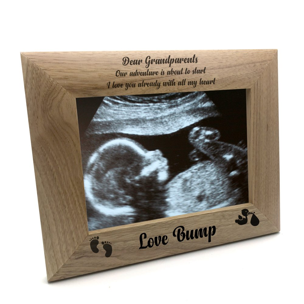 ukgiftstoreonline New Baby Pregnancy Scan Wooden Photo Frame Personalised Daddy Gift 4 x 6 Inch