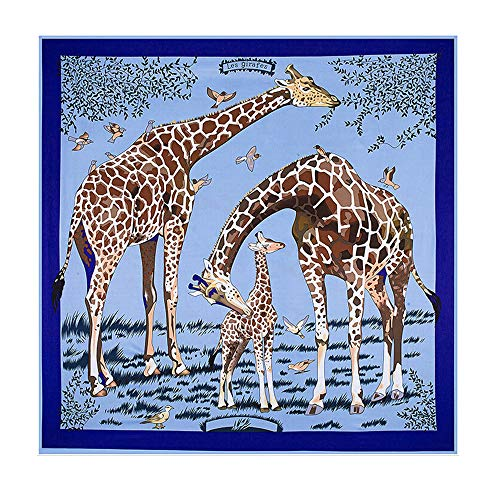 ANDLUV Large Square Scarf Giraffe Print Sheer Silk Head Shawl Scarfs Home Decoration (Blue) ()