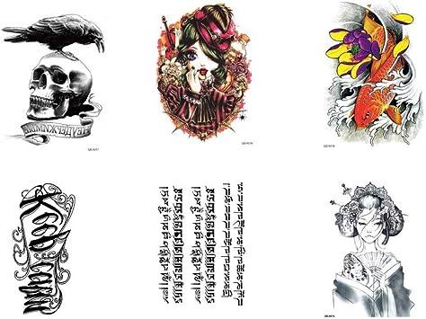 Roy&Rey 6 Hojas de Mezcla Grandes Tatuajes Temporales Diseños de ...
