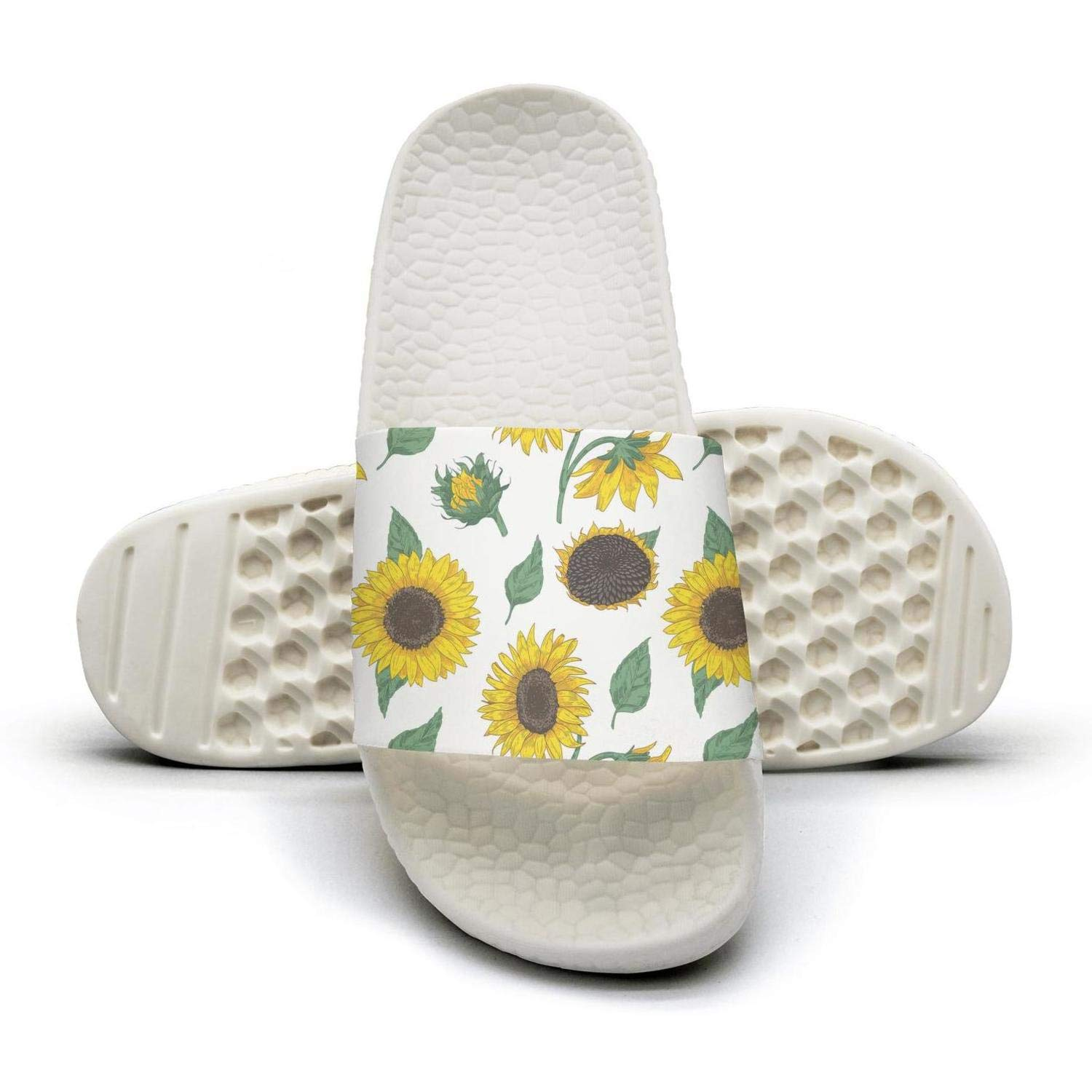 Mens Slipper White Black Elegant Floral Sunflower Stylish Lightweighted Open Toe Flat Shower Slides Shoes